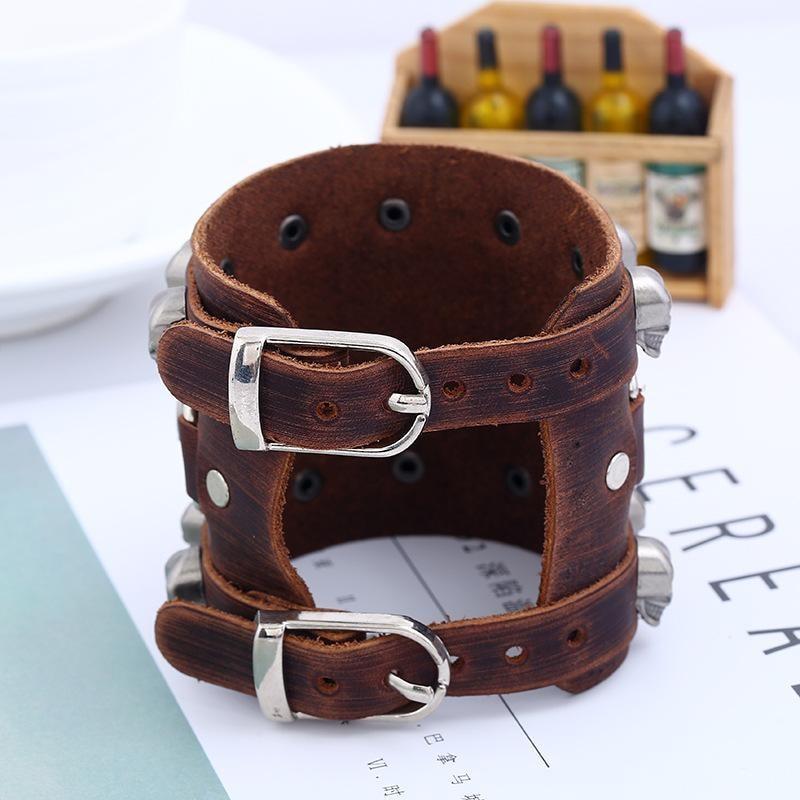 Leather Wristband Bracelet Skull Copper Bangle - 4