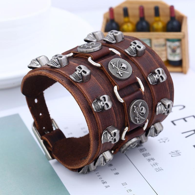 Leather Wristband Bracelet Skull Copper Bangle - 3