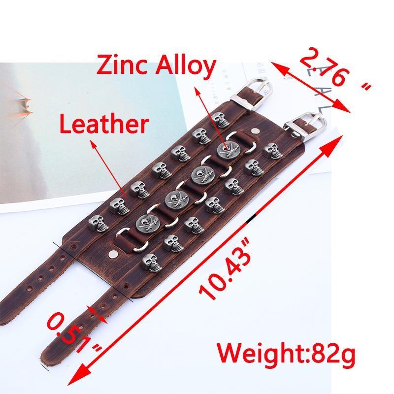 Leather Wristband Bracelet Skull Copper Bangle - 5