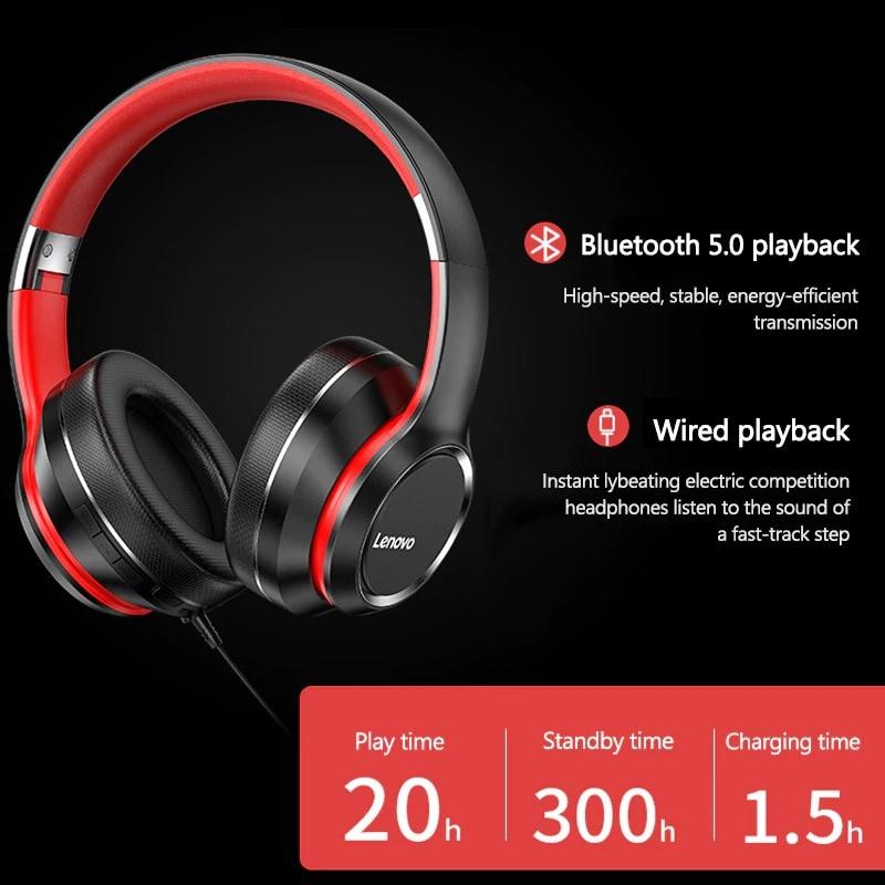 Lenovo HD200 Wireless Headphones Bluetooth 5.0 Red - 4