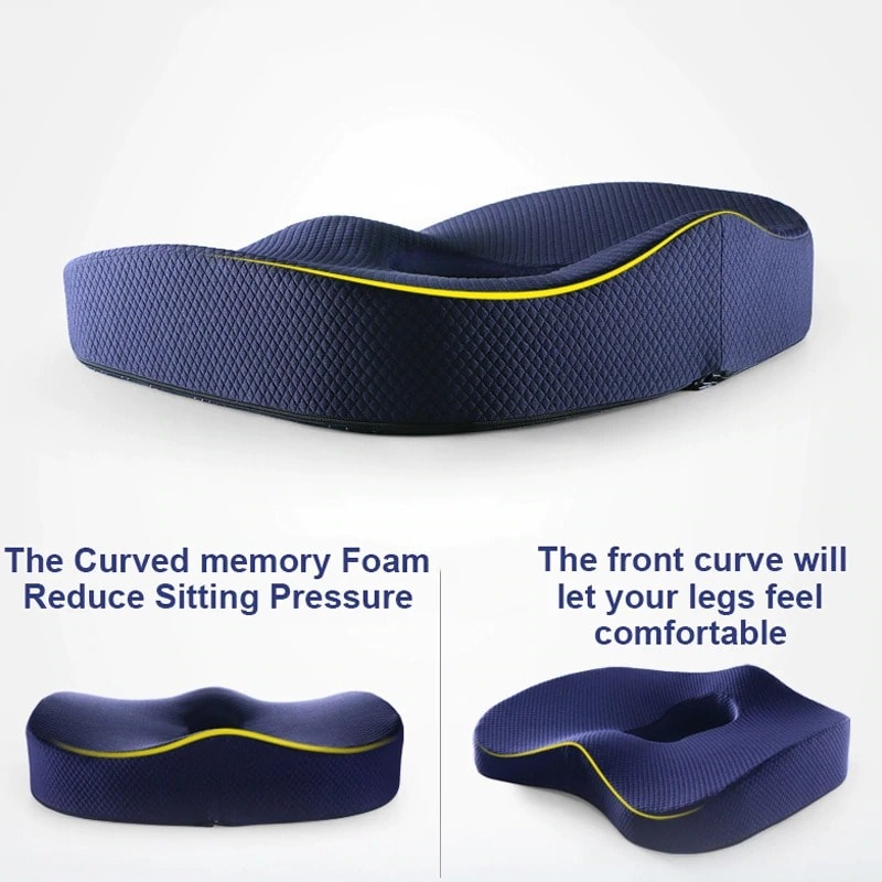 Medical Pillow Orthopedic Coccyx for Chair Support Gaming Chair Black & blue - 4