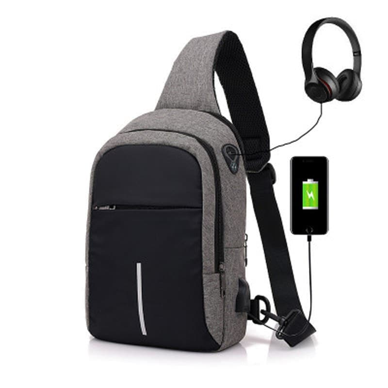 Men Canvas Bags Casual Chest Bag External USB Interface Charging Smart Small Backpack  Black - 1