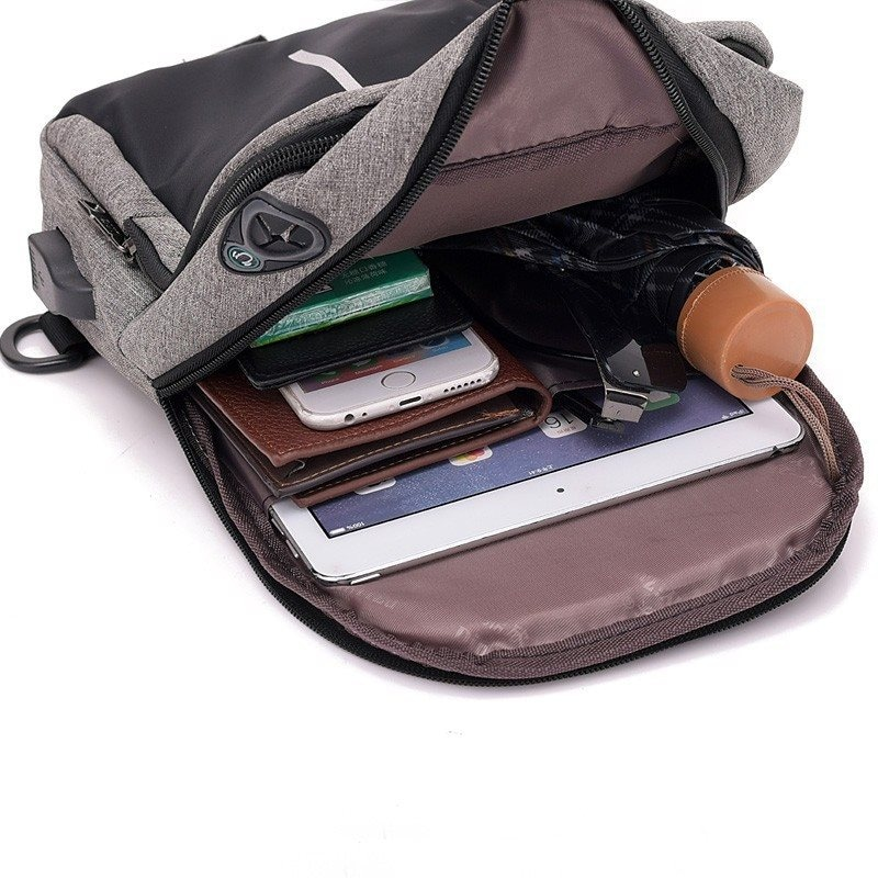 Men Canvas Bags Casual Chest Bag External USB Interface Charging Smart Small Backpack  Black - 2
