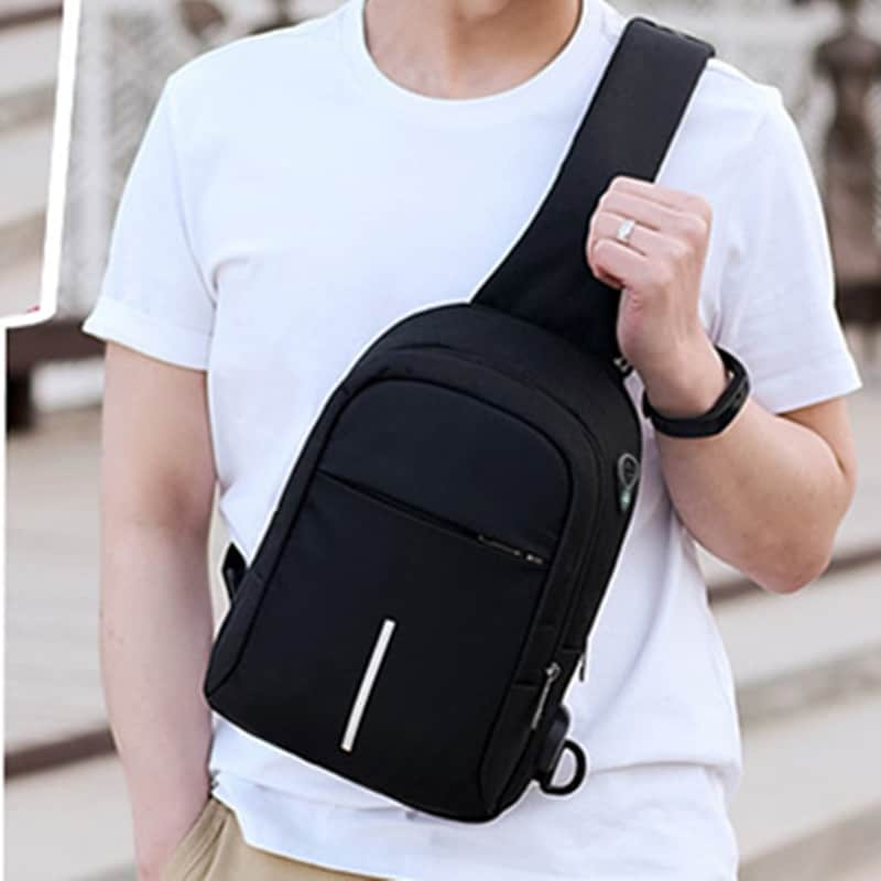 Men Canvas Bags Casual Chest Bag External USB Interface Charging Smart Small Backpack  Black - 3
