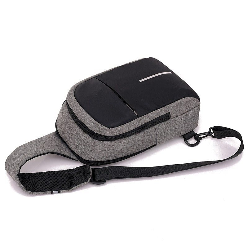 Men Canvas Bags Casual Chest Bag External USB Interface Charging Smart Small Backpack  Black - 4