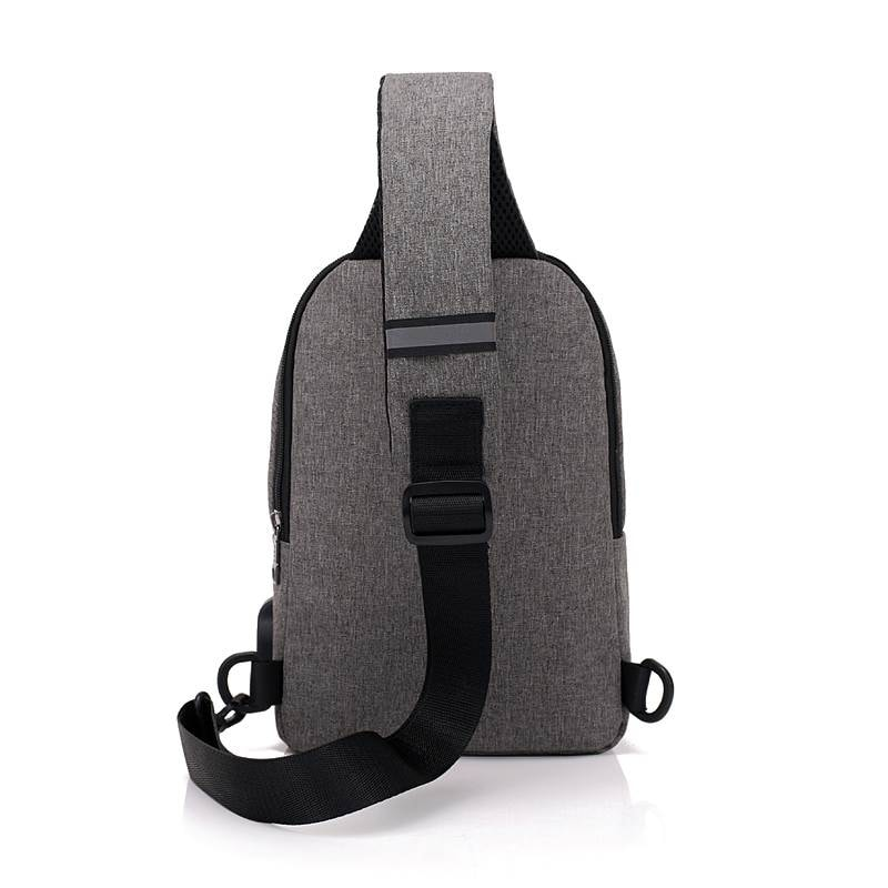 Men Canvas Bags Casual Chest Bag External USB Interface Charging Smart Small Backpack  Black - 5