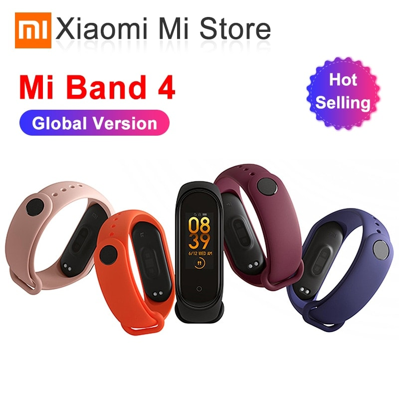 Mi Band 4 Black and TPU wrist Strap and 2PCs Pretective Screen Light Red - 1