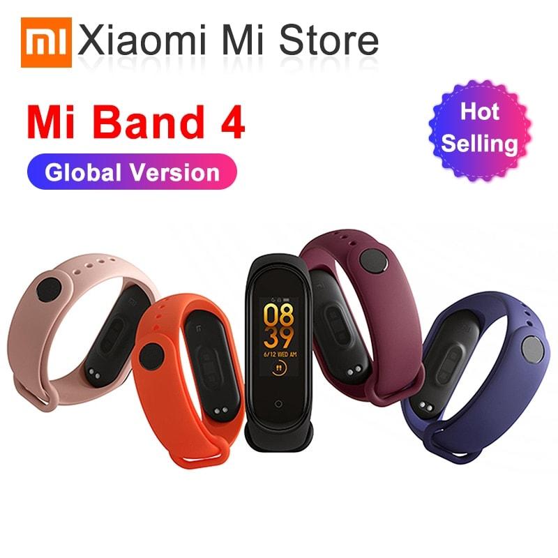 Mi Band 4 Black and TPU wrist Strap and 2PCs Pretective Screen White - 1