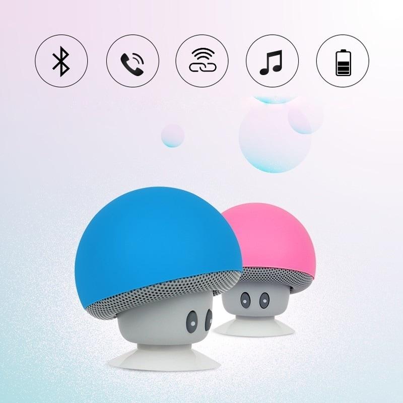 Mini Portable Cute Mushroom Head Bluetooth Speaker Wireless Stereo Speaker with Suction Cup Blue - 1
