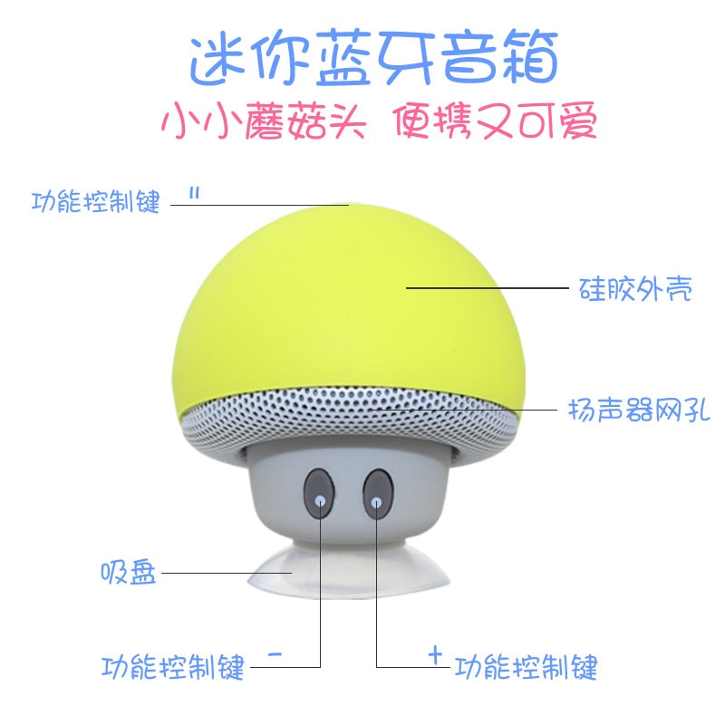 Mini Portable Cute Mushroom Head Bluetooth Speaker Wireless Stereo Speaker with Suction Cup Pink - 6