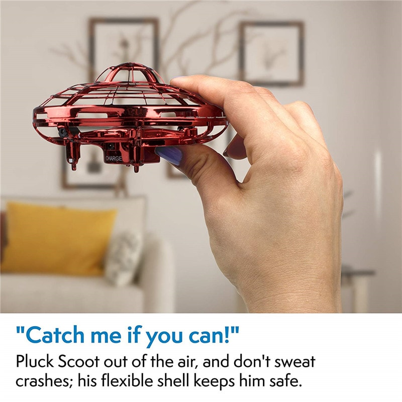 """Mini Quadcopter Drone - """"Force1 Scoot"""" Hands Free Hover Drone Red - 9"""