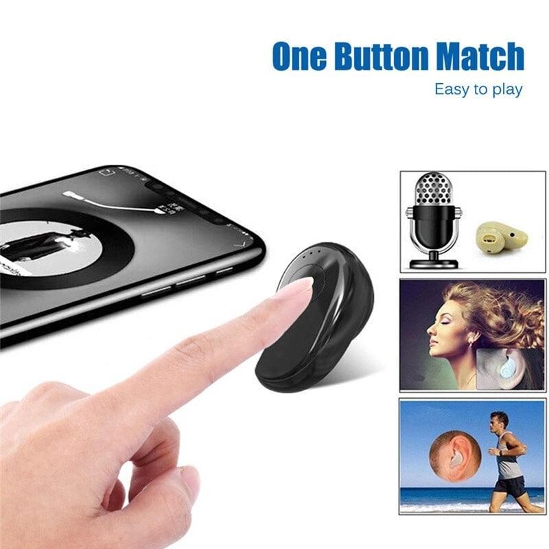 Mini Wireless Bluetooth Earphone in Ear Sport with Mic Handsfree Headset Earbuds (Black) - 4