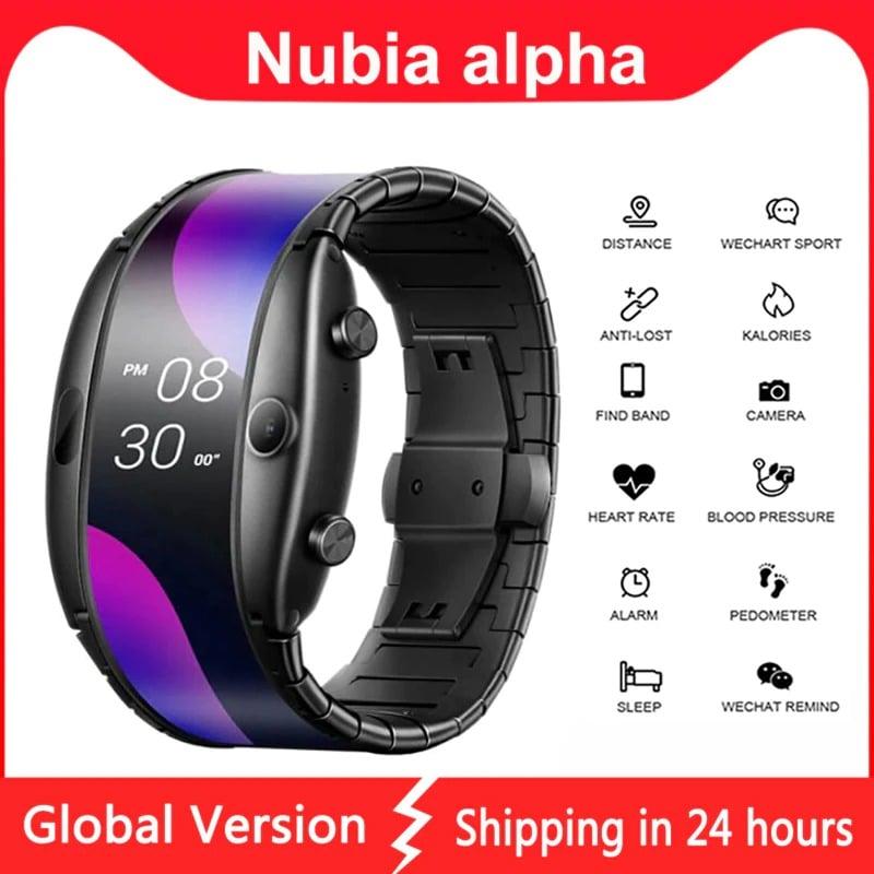 Original Global Version Nubia Alpha Smart Phone Watch 4.01 inch Foldable Flexible Screen Snapdragon 8909W Bluetooth call Black - 4