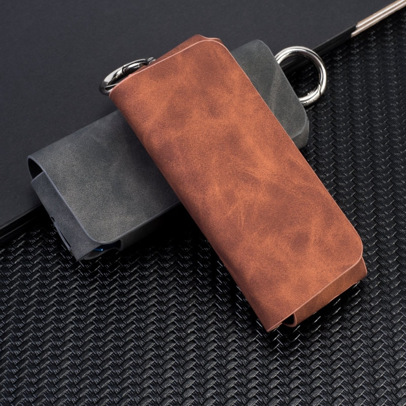 Pouch Bag Protective Holder IQOS3 Wallet Case Electronic Cigarette PU Leather Carrying Case Holder Cover Black - 4