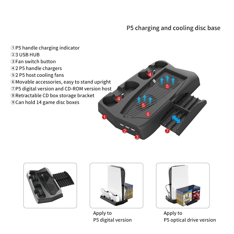 PS5 3in1 multi-function console stand with 2controllers charger holder charging cooling fan and 14 CDs slots Black - 5