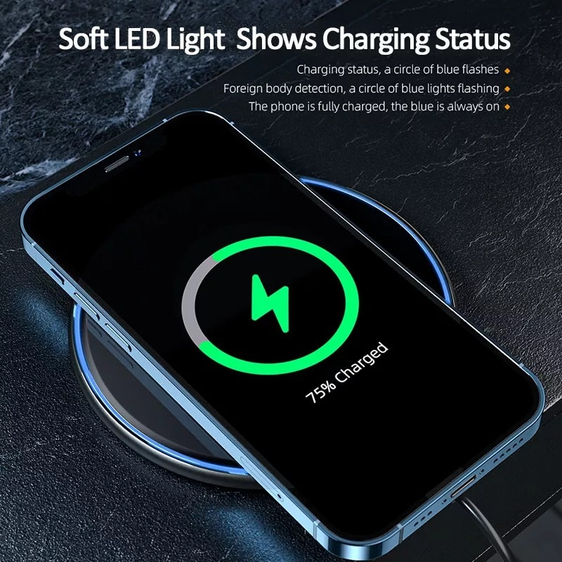 Qi Magnetic Wireless Charger For iPhone 12 11 Pro Xs Max X Black - 2