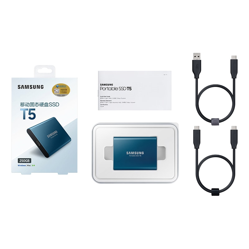 Samsung T5 Portable SSD Hardware with USB 3.1 Encryption - Blue, 250GB - 6