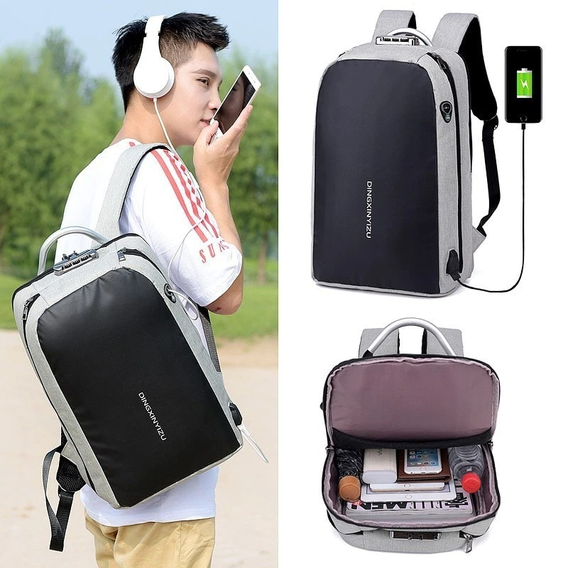 Shellnailx Waterproof Laptop Bag Travel Backpack Multi Function Anti Theft Bag For Men PC Backpack USB Charging For Macb Gray - 6
