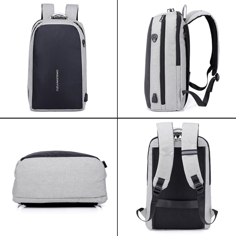Shellnailx Waterproof Laptop Bag Travel Backpack Multi Function Anti Theft Bag For Men PC Backpack USB Charging For Macb Gray - 2