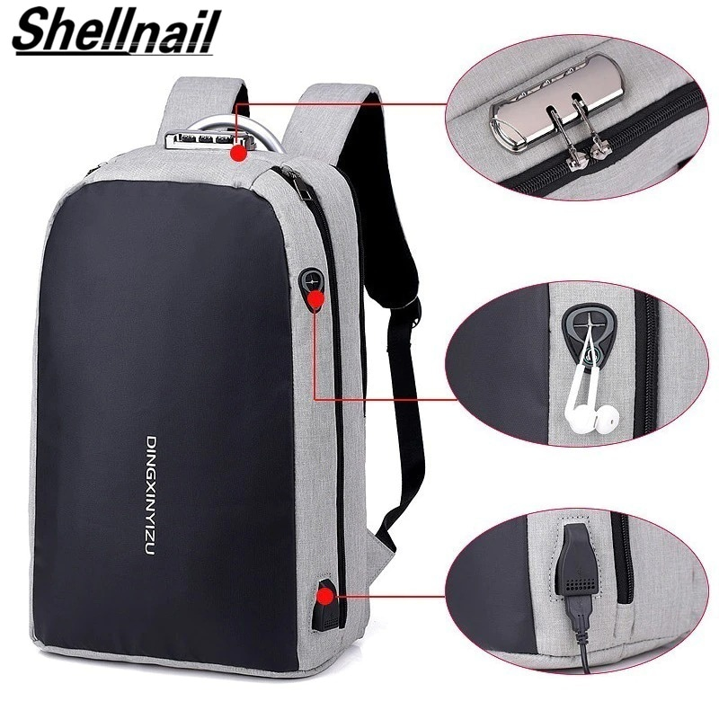 Shellnailx Waterproof Laptop Bag Travel Backpack Multi Function Anti Theft Bag For Men PC Backpack USB Charging For Macb Gray - 5