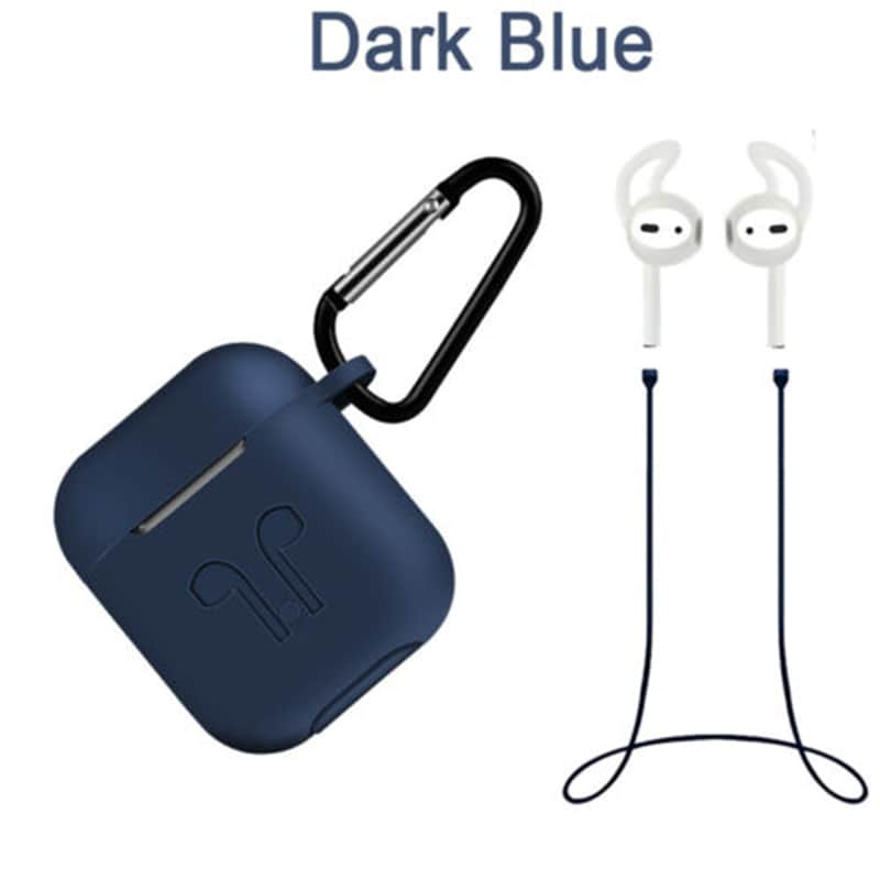 Silicone Cover Case + Carabiner Hook + Anti-lost Earphone Strap + Ear Tips Set for Apple AirPods Blue - 2