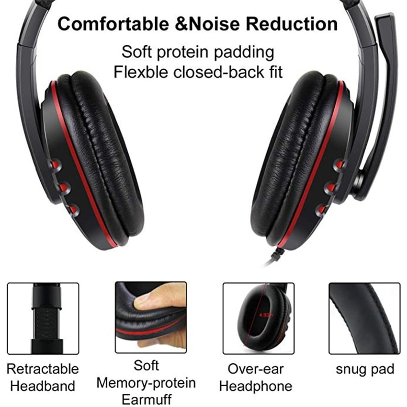 Stereo Gaming Headset For All PS4 Xbox one PC with Microphone and Volume Control Red - 3