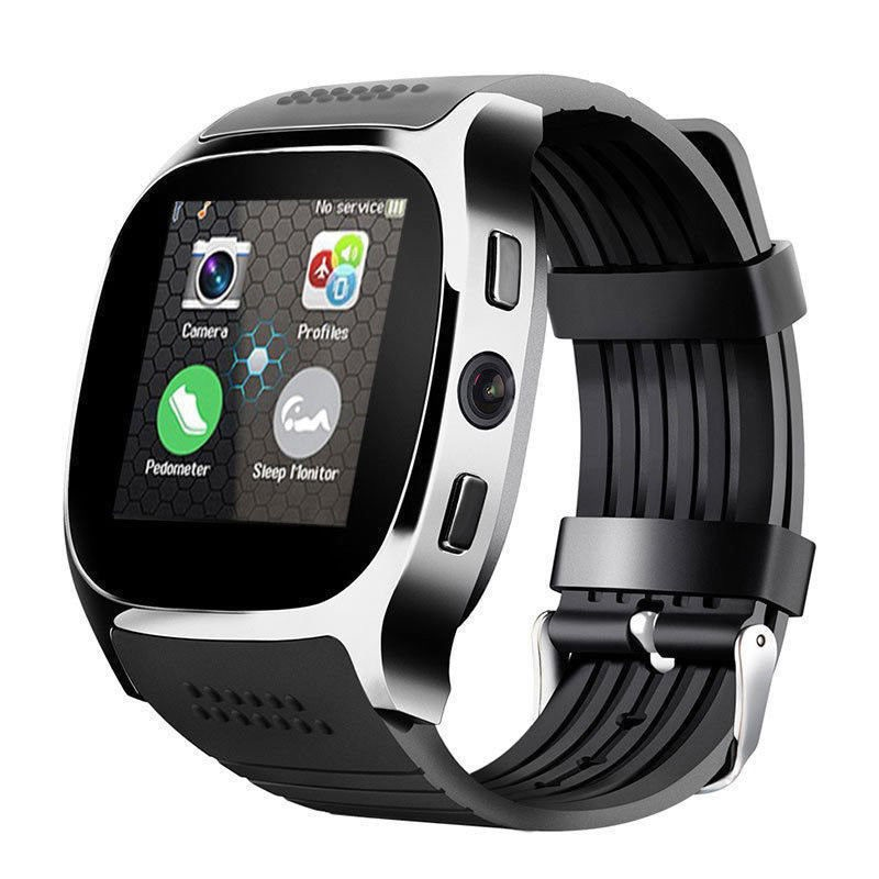 T8 Bluetooth Smart Watch Phone Mate SIM FM Pedometer for Android IOS iPhone Samsung Black - 2