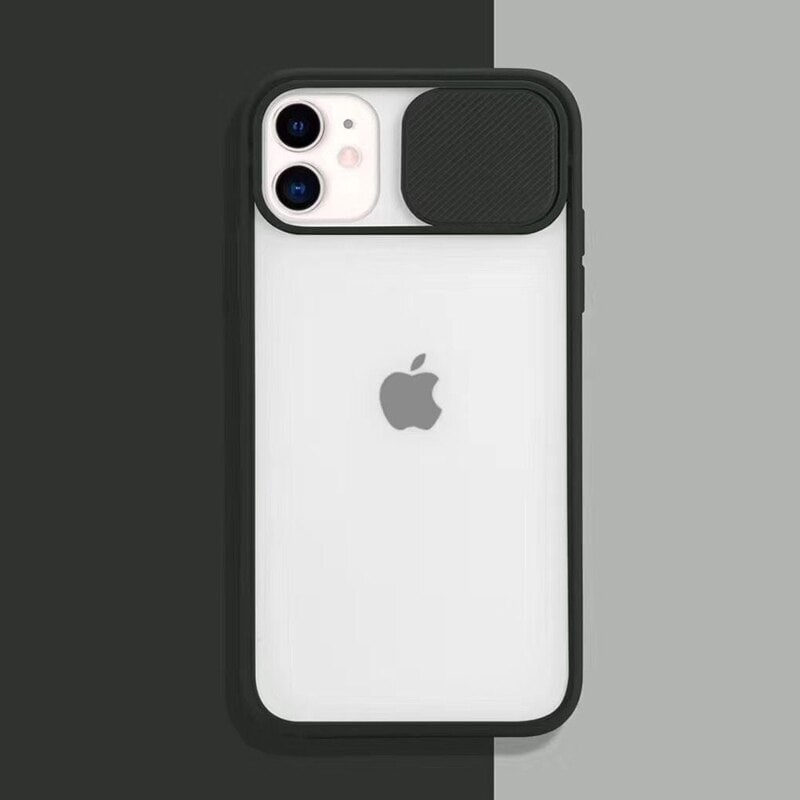 Transparent Iphone Case soft camera cover and lens for Iphone X and XS Black - 1
