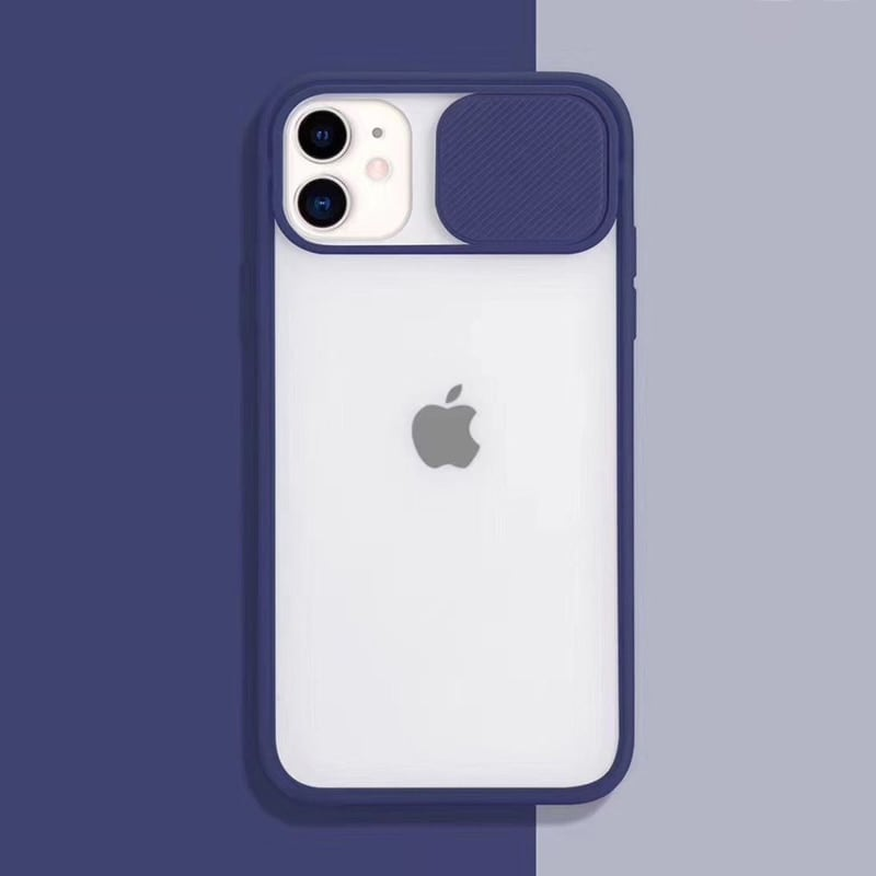Transparent Iphone Case soft camera cover and lens for Iphone X and XS Dark Blue - 1
