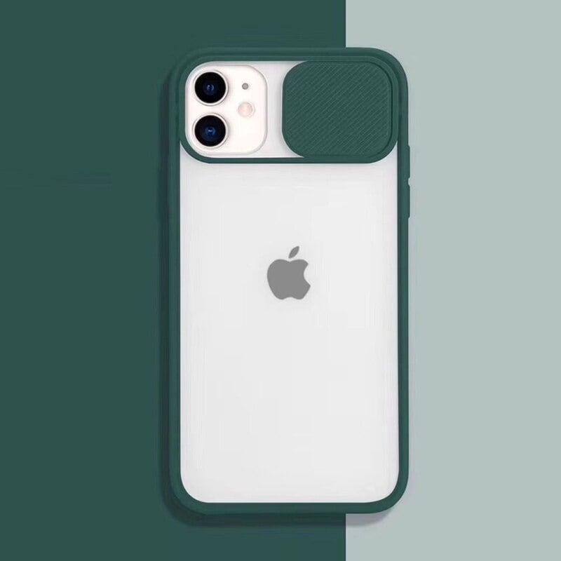 Transparent Iphone Case soft camera cover and lens for Iphone X and XS Green - 1
