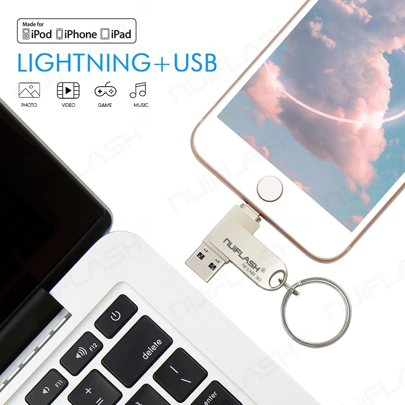 USB Flash Drive For iPhone/ipad 2 IN 1 Pen Drive Memory Stick 256GB - 7