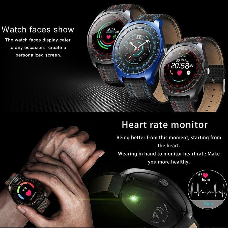 V10 Waterproof Sport Smart Watch - Blood Pressure Heart Rate Monitor for iOS Android Blue - 10