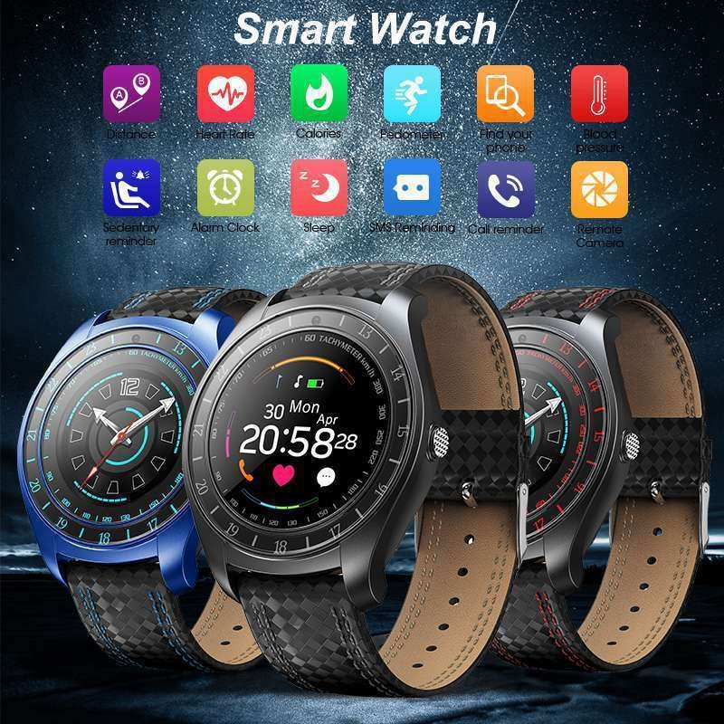 V10 Waterproof Sport Smart Watch - Blood Pressure Heart Rate Monitor for iOS Android Blue - 1