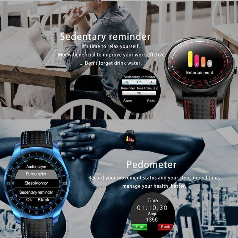V10 Waterproof Sport Smart Watch - Blood Pressure Heart Rate Monitor for iOS Android Blue - 3