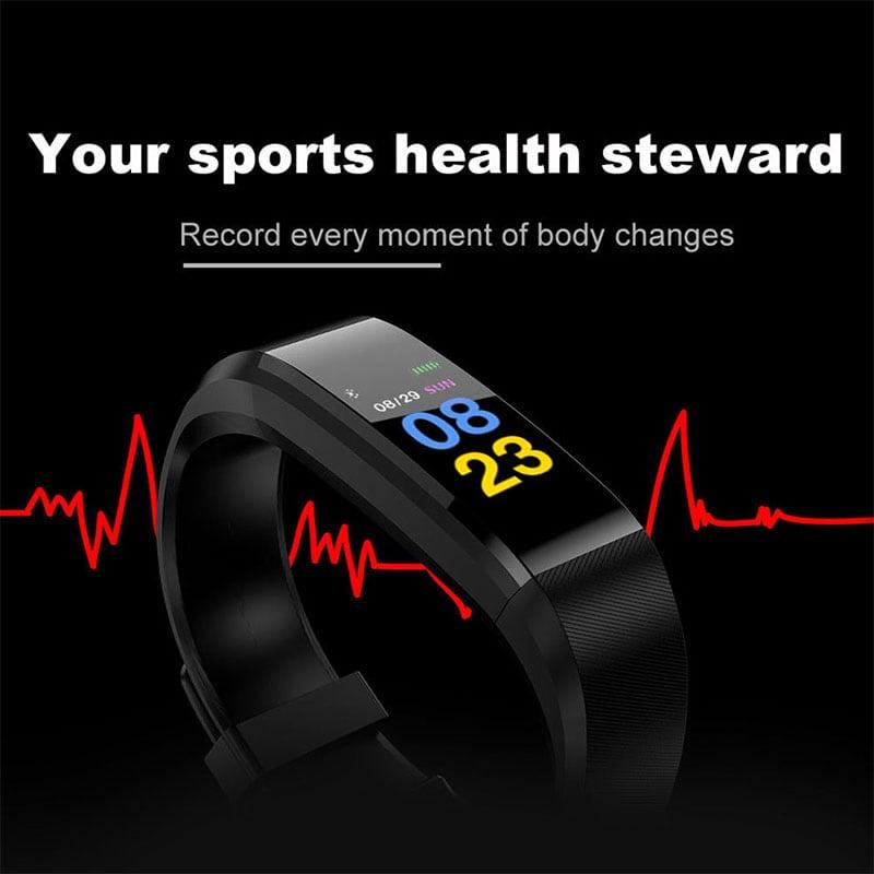 Waterproof Bluetooth Smart Watch - Heart Rate Blood Pressure Monitor Fitness Tracker Bracelet in Black - 2