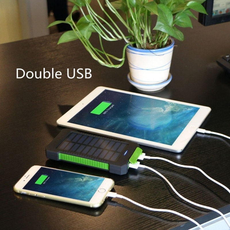 Waterproof Solar Charger Powerbank with LED Light - Black - 2