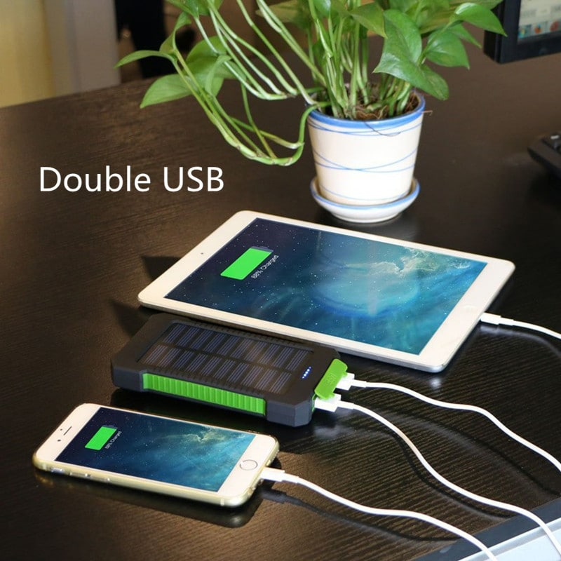 Waterproof Solar Charger Powerbank with LED Light - Green - 2