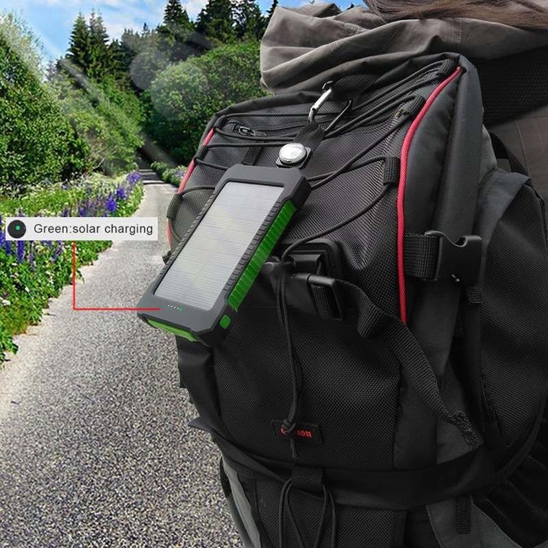 Waterproof Solar Charger Powerbank with LED Light - Green - 3