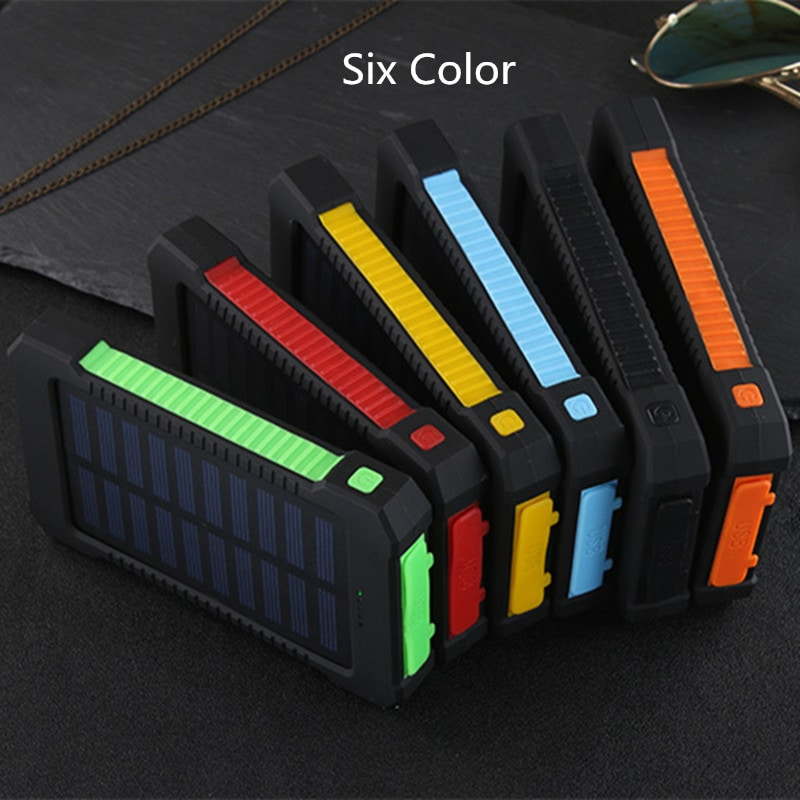 Waterproof Solar Charger Powerbank with LED Light - Red - 5