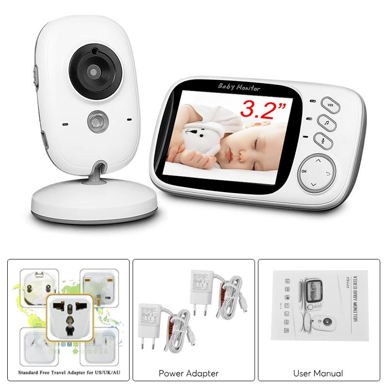 Wireless Baby Monitor - 3.2 Inch Display, Temperature Monitor, Dual-Way Audio, 2.4GHz Wireless, Play Songs - 3