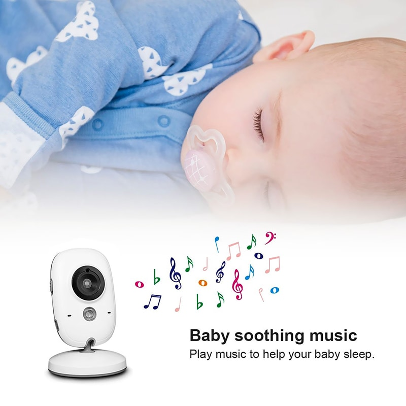 Wireless Baby Monitor - 3.2 Inch Display, Temperature Monitor, Dual-Way Audio, 2.4GHz Wireless, Play Songs - 9