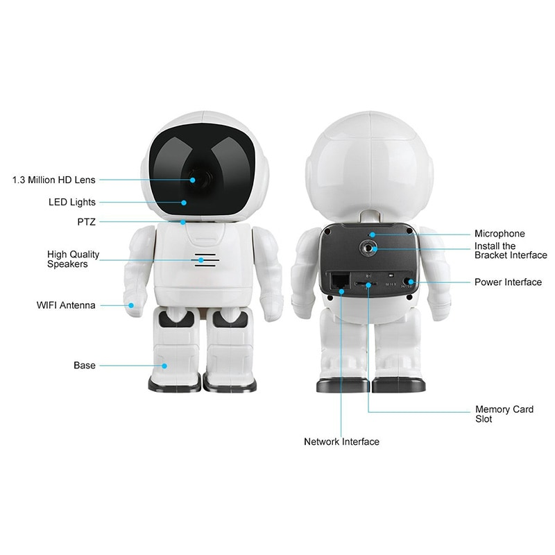 Wireless IP Camera - Robot Shaped, Pan & Tilt, 1280x960, Two-Way Audio, Phone App, Alarm Notification - 6