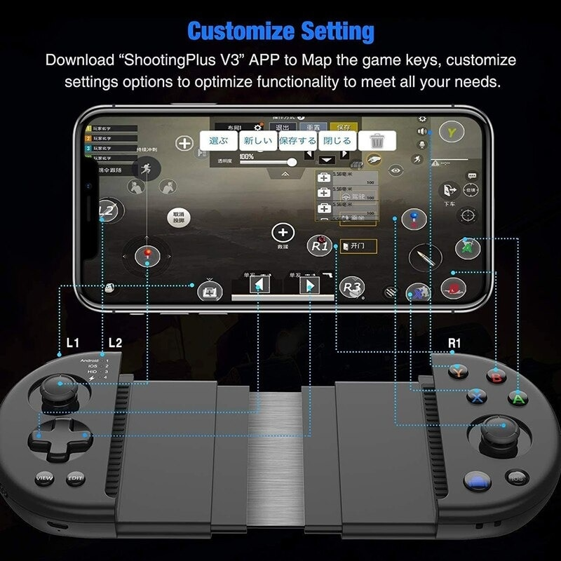 Wirelessx Joystick For Phone Gamepad Android Game Controller Bluetooth Extendable Joystick For 3.5-6.5 Inch Android IOS Black - 3