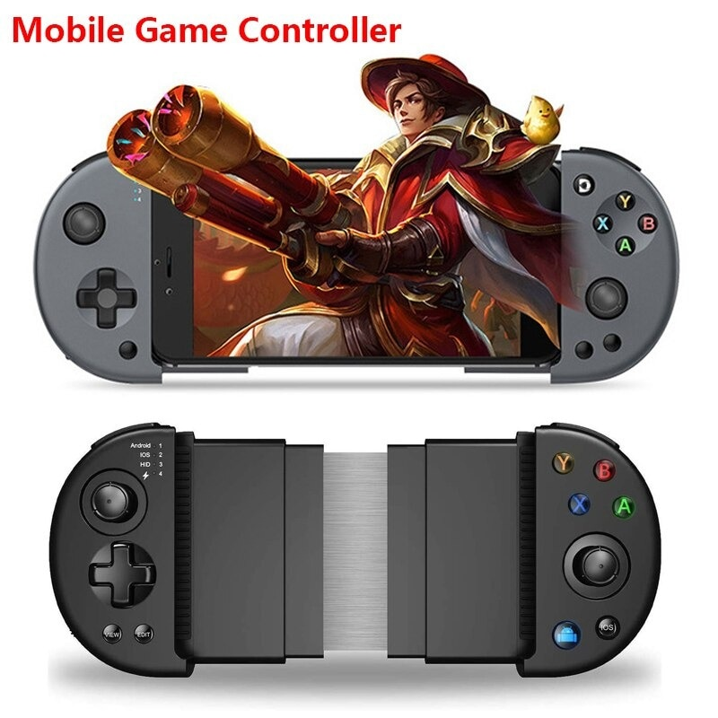 Wirelessx Joystick For Phone Gamepad Android Game Controller Bluetooth Extendable Joystick For 3.5-6.5 Inch Android IOS Black - 1