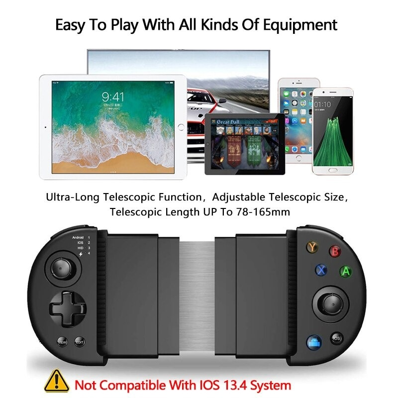 Wirelessx Joystick For Phone Gamepad Android Game Controller Bluetooth Extendable Joystick For 3.5-6.5 Inch Android IOS Black - 5