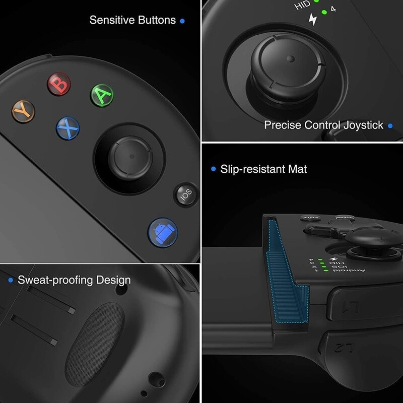 Wirelessx Joystick For Phone Gamepad Android Game Controller Bluetooth Extendable Joystick For 3.5-6.5 Inch Android IOS Black - 4