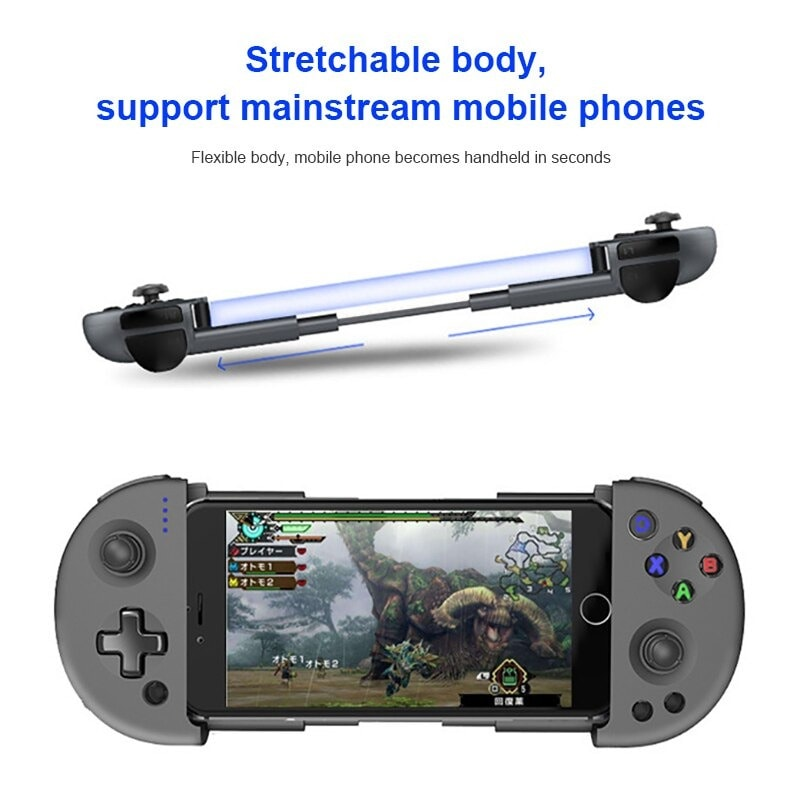 Wirelessx Joystick For Phone Gamepad Android Game Controller Bluetooth Extendable Joystick For 3.5-6.5 Inch Android IOS Black - 6
