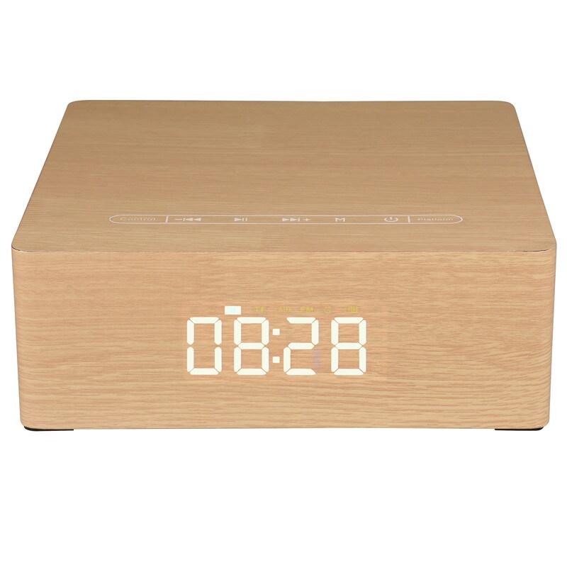 Wolfsay Wooden Bluetooth Alarm Clock Speaker 3600mAh Battery Support Audio Input TF Card/U-disk Play - 2