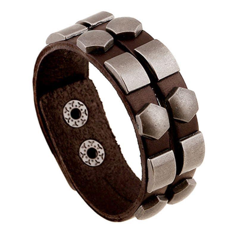 Wristband Adjustable Leather Bracelet New Fashion Unisex Geometric Aloy Punk Rock Cowhide Bangle Cuff - 1
