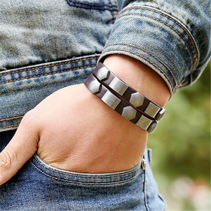 Wristband Adjustable Leather Bracelet New Fashion Unisex Geometric Aloy Punk Rock Cowhide Bangle Cuff - 2
